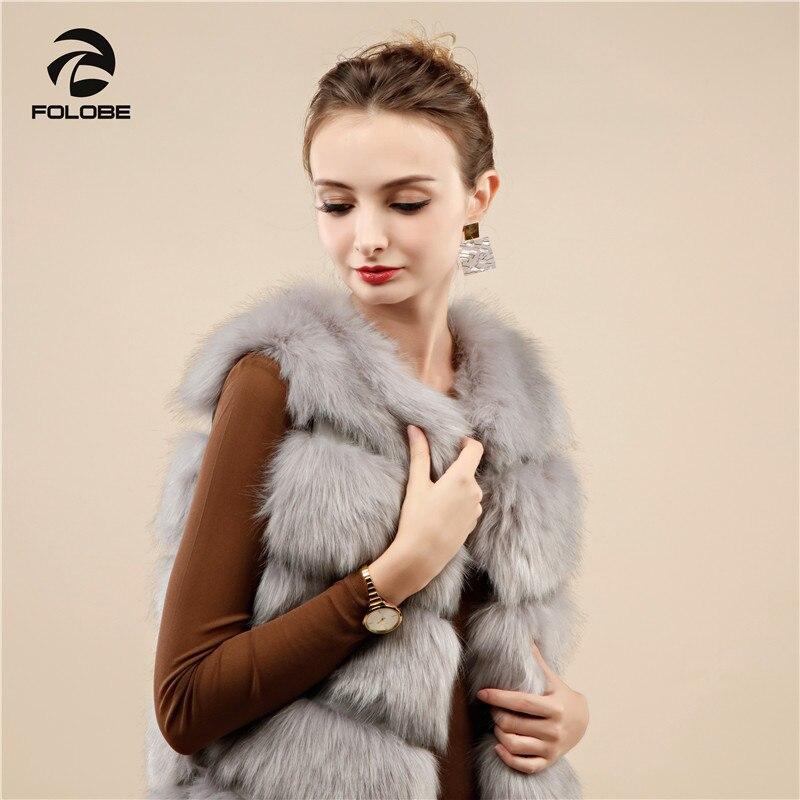 Fourrure Mode Renard 2018 Folobe De Manteaux Veste Manteau D'hiver Gray Fourrures Chaud Faux Femmes Gilets Light Casual Gilet WqRWcS15X