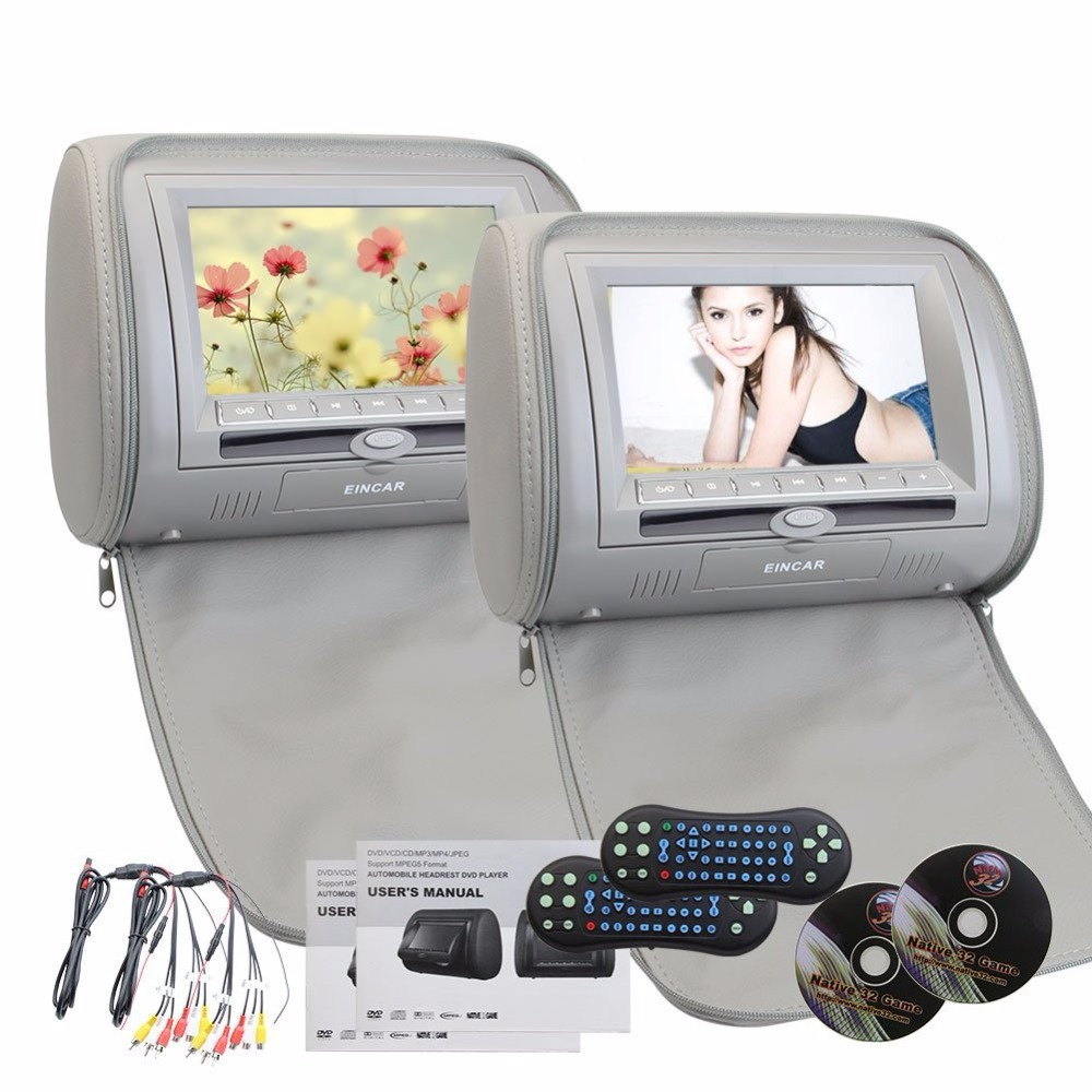 3-Color Digital HD 7 Car Headrest LCD Monitor Hanging DVD Player With FM USB SD 32 bit Game Universal Digital Screen  zipper Ca eincar car 9 inch car dvd pillow headrest two monitor lcd screen usb sd 32 bit game fm ir multimedia player free 2 ir headphones