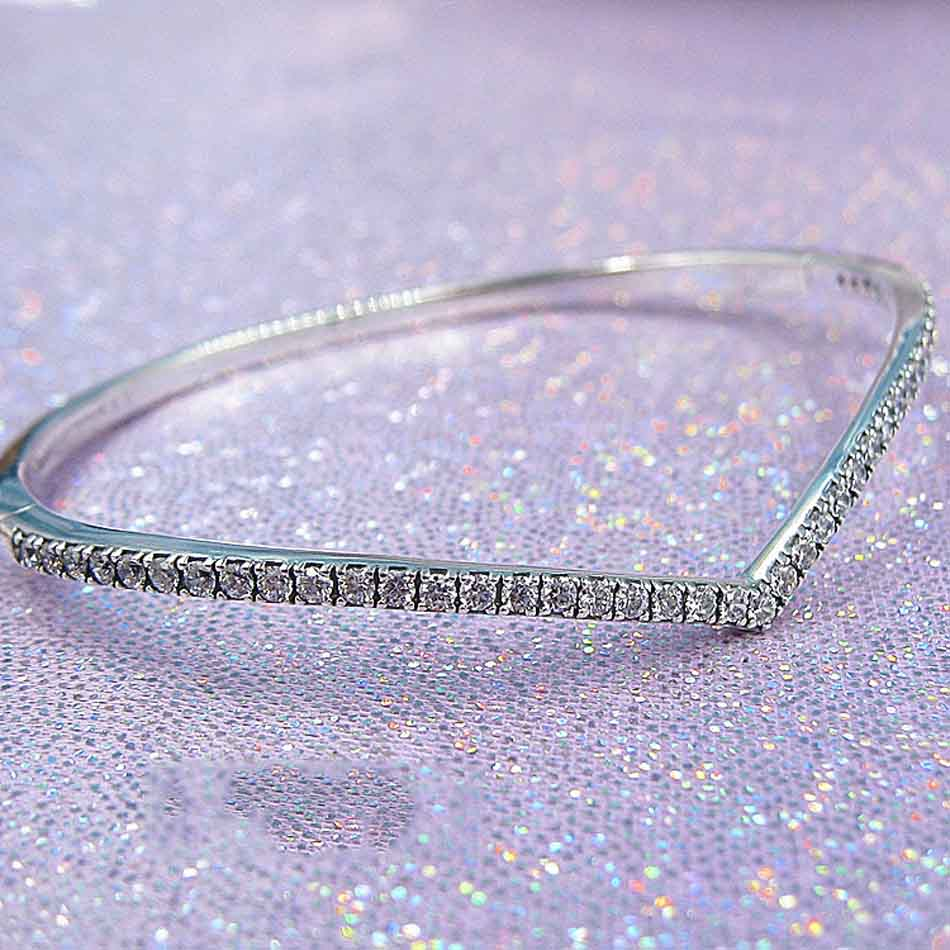 New 925 Sterling Silver Bangle Shimmering Wish With Crystal Bracelet Bangle Fit Women Bead Charm Pandora Diy JewelryNew 925 Sterling Silver Bangle Shimmering Wish With Crystal Bracelet Bangle Fit Women Bead Charm Pandora Diy Jewelry