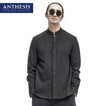 Anthesis linen shirt male long-sleeve fluid stand collar shirt male 2017 spring eastern style men's clothing