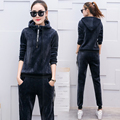 Tracksuit 2017 Winter velvet sports suit women's long sleeve hooded casual sweater thickening 2 piece suit