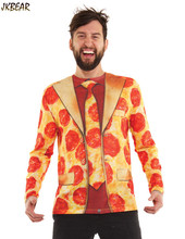 2016 Halloween Gift Funny 3D Fake Suit Blazer with Pizza Print Long Sleeve T Shirts for Men Cool Male's Ugly Christmas Tee S-2XL