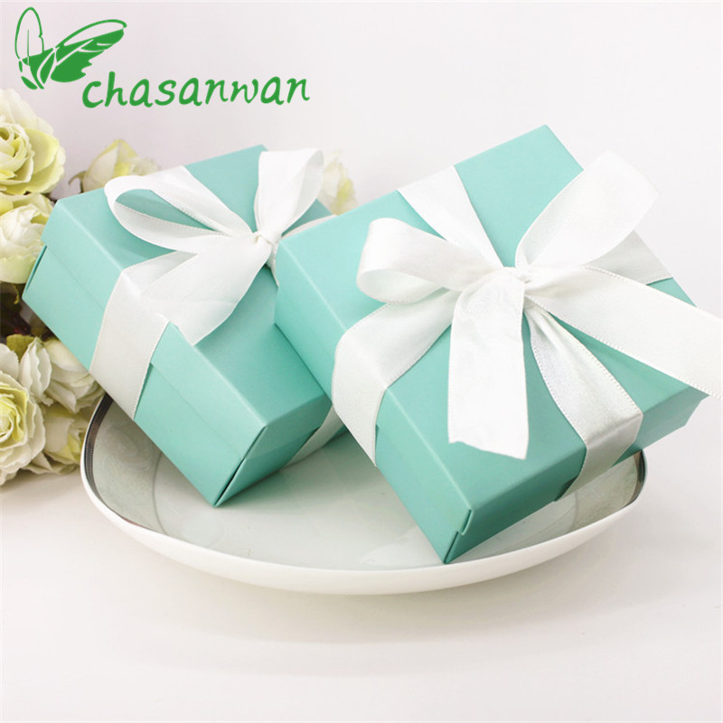 5 Pcs Tiffany Blue Casamento Candy Box Small Folding Gift Box Candy Bag Wedding Gifts for Guests Wedding Decor Party Supplies,JW