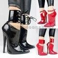 Sexy Mulheres Bombas Botas 18 cm Saltos Finos das Mulheres Sapatos de Bico fino Mulheres Bombas preto Vermelho Zipper Bloqueio Fivela Finos Sapatos de Salto Alto