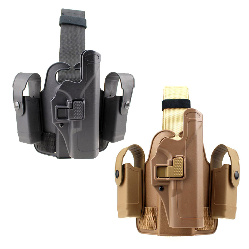 Tactical Glock Leg Holster Paddle Drop Thigh Pistol Gun Holster Right Hand Snap Button Magazine Torch Pouch for Glock 17 19 22