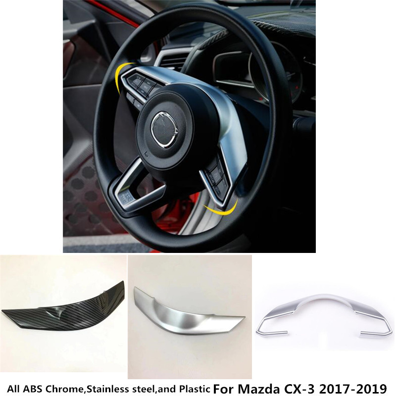 High quality For Mazda CX-3 CX3 2017 2018 2019 car body cover styling Steering wheel Interior Kit switch Trim lamp frame 1pcs for mazda cx 5 cx5 2nd gen 2017 2018 interior custom car styling waterproof full set trunk cargo liner mats tray protector