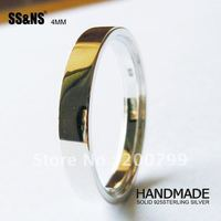 Solid 925Solid 925Sterling Silver 4mm Plain Engagement Band Ring