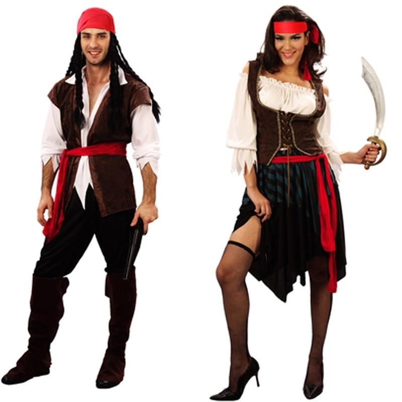 Disfraces de pirata para mujer, mujer, hombre, Adulto, halloween, hombre, Capitán jack, disfraz de sparrow, cosplay de Piratas del Caribe