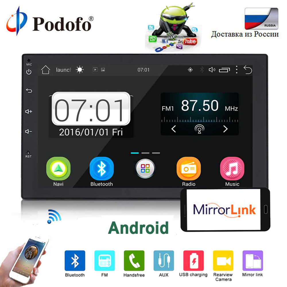 Podofo 2 din autoradio Android 7 MP5 Lecteur Tactile Écran GPS Navigation Autoradio Android Wifi Lecteur Multimédia De Voiture mirrorlink