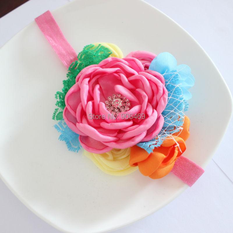 Kids hair Flower headband Burned Satin Flowers burned edges flower with Rose Lace headband Girl headwear accessories