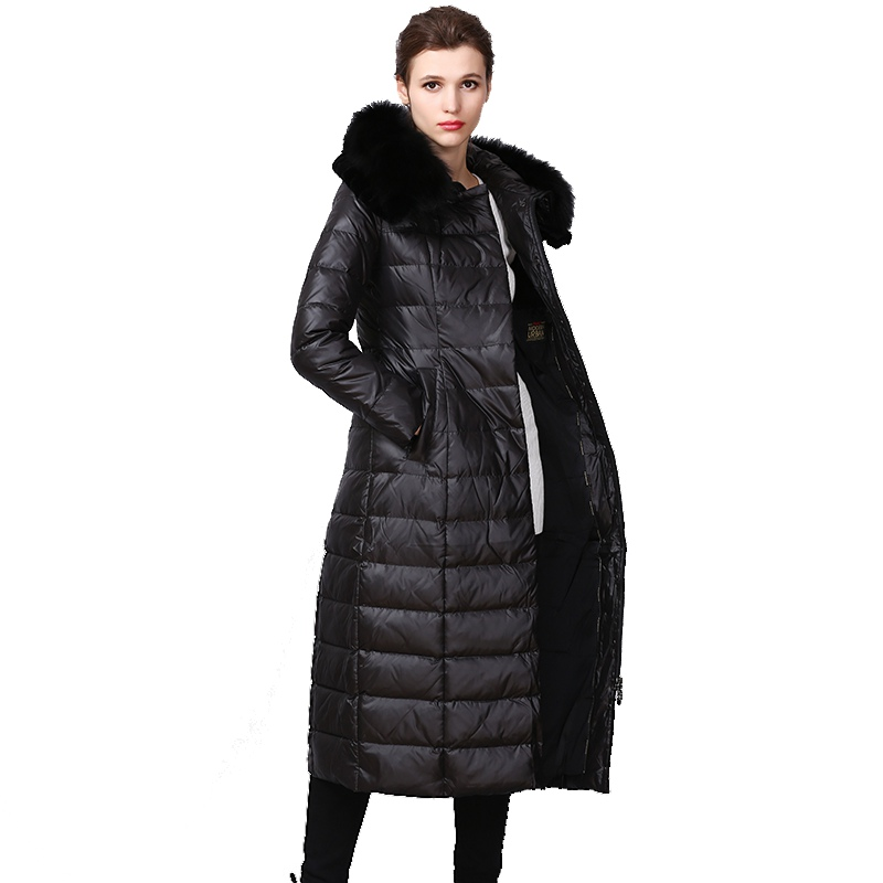 European Winter Women Parkas   Down     Coats   With Fox Fur Hoody 90% Duck   Down   Lady X-Long Trench Outerwear Overcoat LF4315