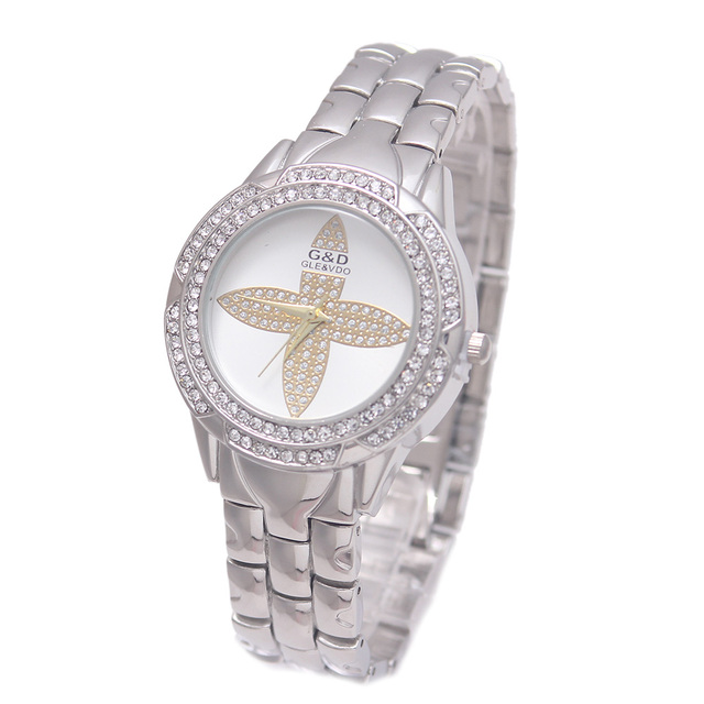 2017 Luxury G&D Women Quartz Wristwatches Silver Crystal Fashion Women Bracelet