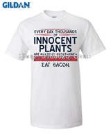 GILDAN Tops Summer Cool Funny Brand New T Shirts Eat Bacon Innocent Plants Mens Funny Novelty