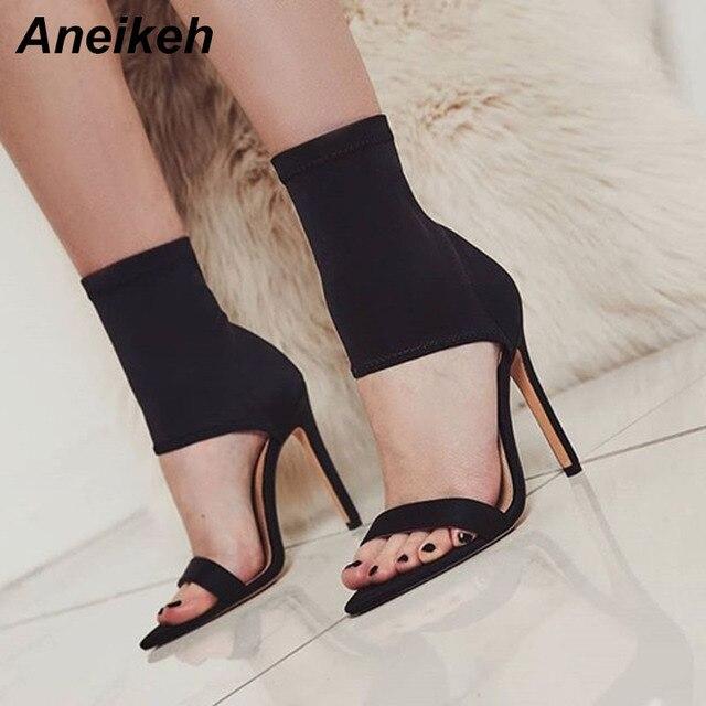 Aneikeh Women s Sandals Black Elastic Sock Shoes Ladies Open Toe High Heels  Fashion Ankle Boots Women Pumps Sandals Size 35-40 6189aedee62f