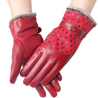 Women S Winter Fashion Warm Black Thicken Genuine Leather Peacock Gloves High Quality Casual Mittens Free
