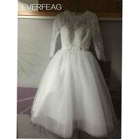 2016 Vintage Short Wedding Dresses Under 100 Ball Gown Tea Length Bateau 1 2 Full Sleeves