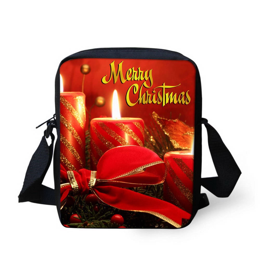 Wholesale Cool Merry Christmas Candle Print Women Messenger Bags Casual Crossbody Pack Shoulder Bag For Boys Grils FORUDESIGNS