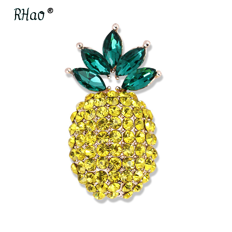 RHao girls boys kids Rhinestone Fruit pineapple brooch pins for women men suit brooches corsage hijab pins scarf buckles clips