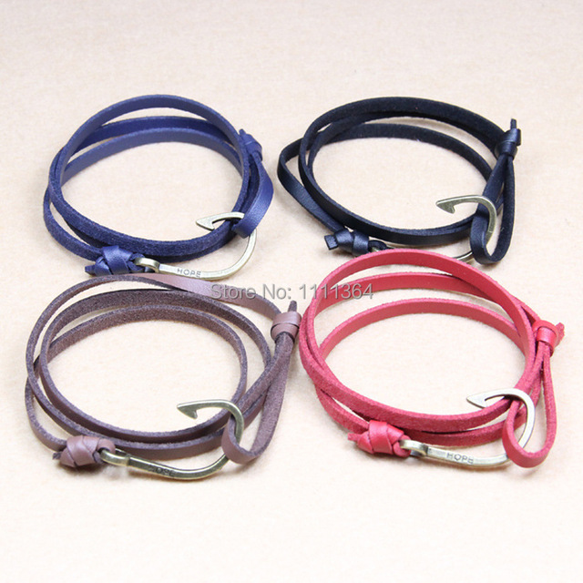 Handmade Nautical Bracelet Shackle Snap Fish Hook Bracelets Marine With Leather Paracord Beach Free