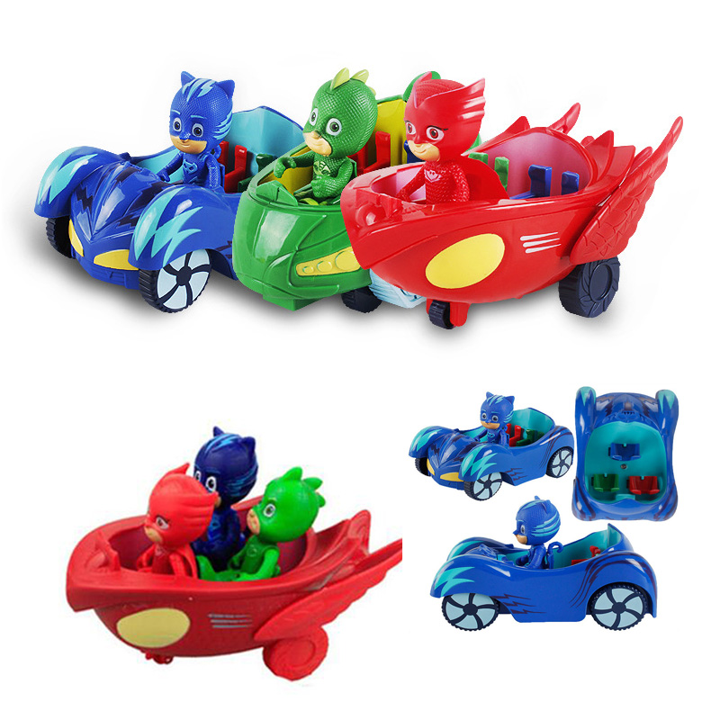3pcs/lot Pj car kids toys with characters action figure Catboy Gekko Cloak masks toy PVC cartoon toys for chidrens gifts
