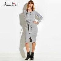 Kinikiss 2017 Spring Women Sexy Club Gray Women Sweater Dress Slim Bodycon Knitted Sweater Button Winter