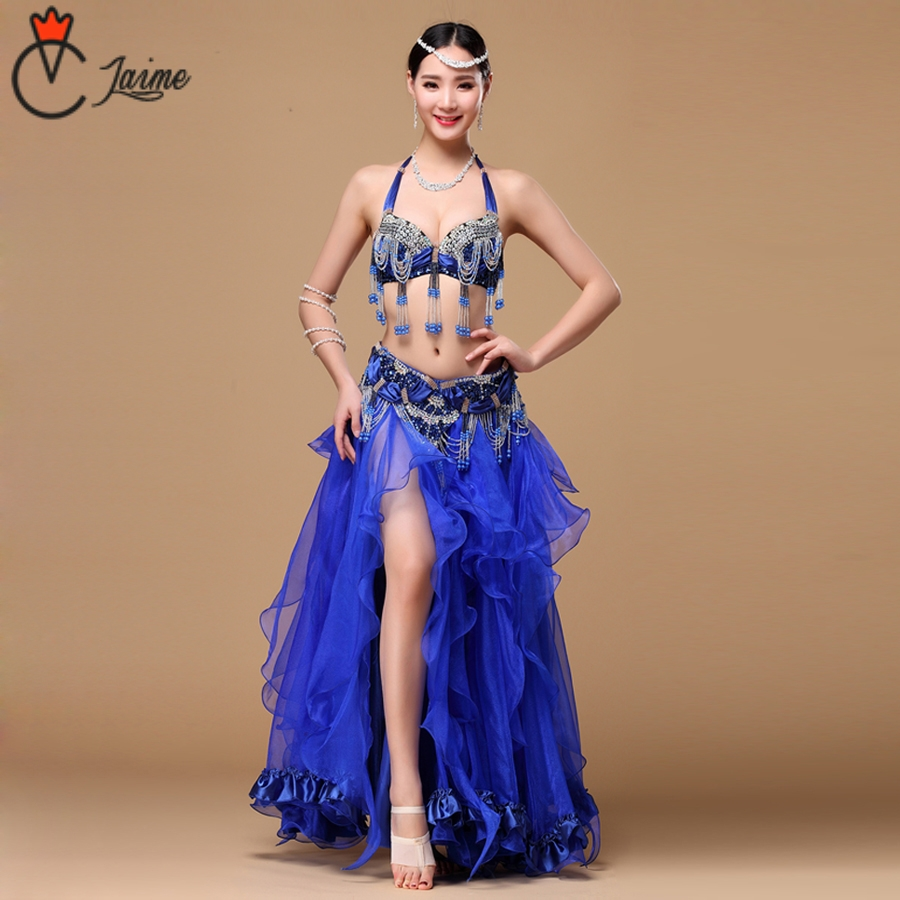 2018 New Women Dancewear Professional 3pcs Outfit Plus Size Cup C/D Bra Belt Skirt Long Oriental Beaded Belly Dance Costume