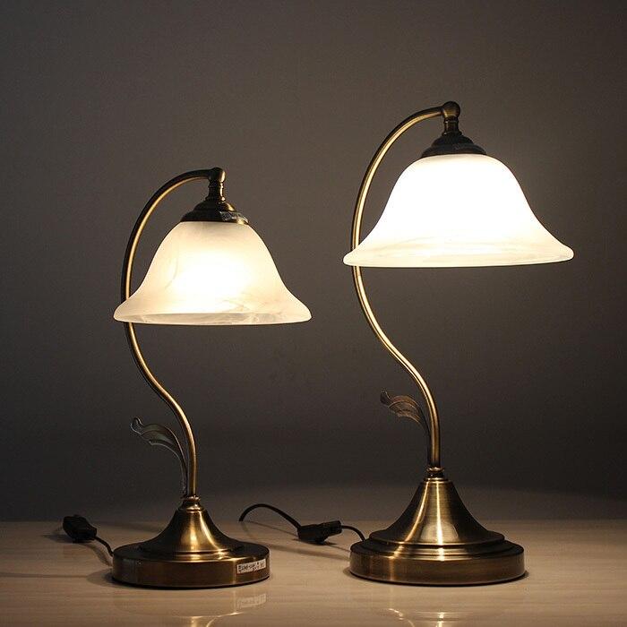 Здесь продается  Vintage Bronze Bedroom marble Shade Bedsides Table Lights European Living Room Table Lamp Glass Bedroom Desk lighting Fixtures  Свет и освещение