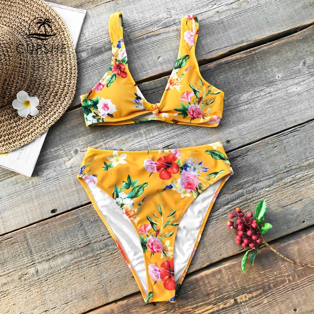CUPSHE Giallo Stampa Floreale A Vita Alta Bikini Set Donne Bowknot Perizoma Bikini Due Pezzi Costumi Da Bagno 2018 Spiaggia Costume Da Bagno Costumi Da Bagno
