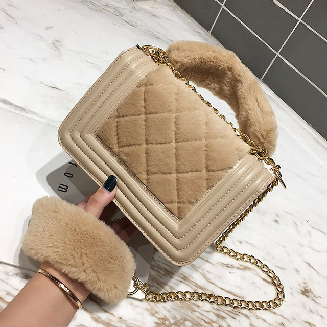 Winter Plush Shoulder Bag For Women 2018 Designer Ladies Faux Fur Messenger  Bags Cute Small Crossbody 0b1774daaa2de