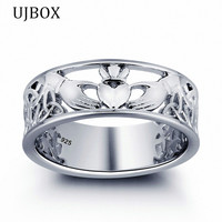 UJBOX Exclusive 100 925 Sterling Silver Claddagh Rings For Women Wedding Engagement Jewelry Irish Love Heart