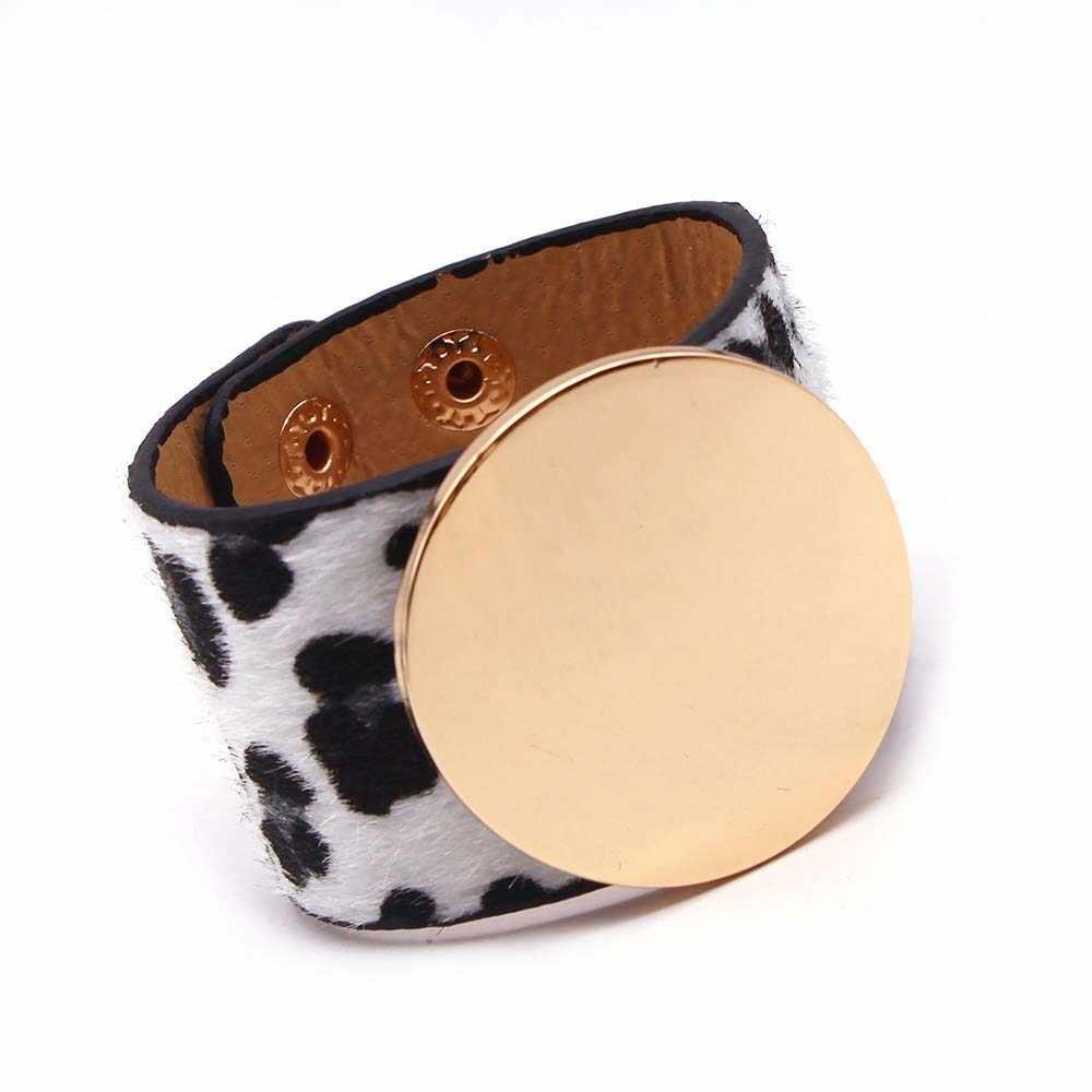 D&D New Leather ZA Leopard Multicolor Bracelet For Women Boho Gold Color Button Vintage Christmas Punk Jewelry
