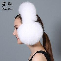 Real Fox Fur Earmuffs for Winter Women Warm Natural Raccoon Fur Earmuffs Girl's Earlap Genuine Fur Plush Ear Muff