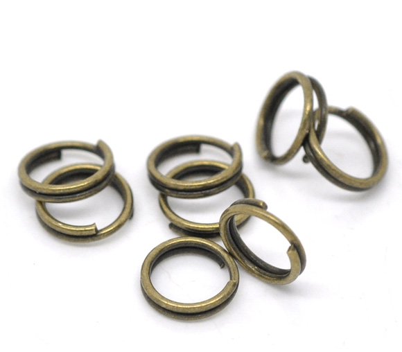 Alloy Split Jump Rings Round Antique Bronze 6mm( 2/8