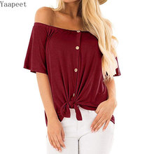 Women Casual Off Shoulder Short Sleeve Solid with Buttons Top T-shirt 2019 Blouse Button
