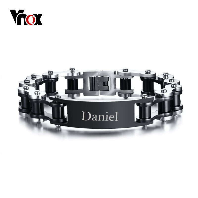 Vnox Free Engraving Punk Bike Chain ID Bracelet For Men Stainless Steel Biker Cycle Links Male Jewelry Masculina Pulseira men red and black motorcycle chain bracelet in stainless steel bike link bangle edelstahl armband pulseira braslet male jewelry