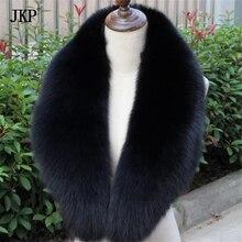 /воротник из натурального меха лисы ручной работы/шарф/черный 80 см/90 см/100 см
