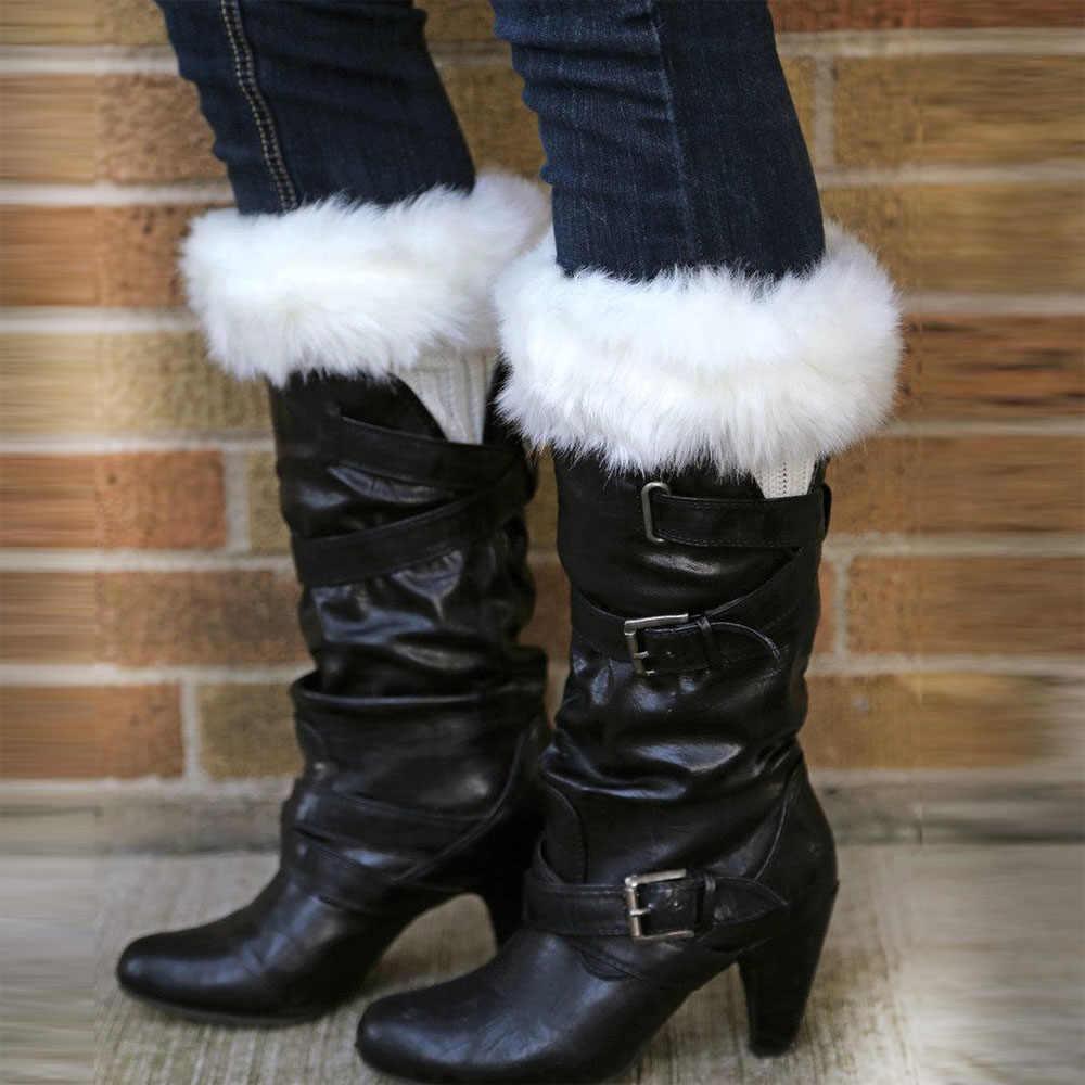 ホット販売女性の冬の毛皮レッグウォーマーソフトフェイクファーブーツ袖口足首膝ブート靴下冬ファッションaccessoires