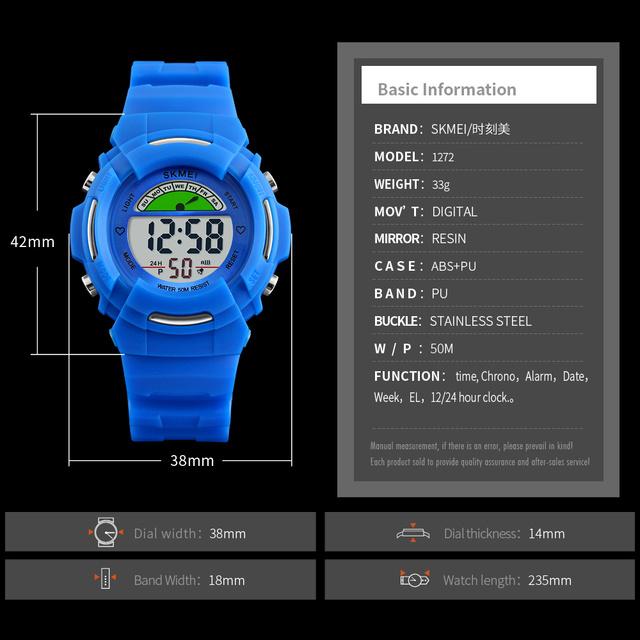 Children's Watch SKMEI Brand Digital LED Kids Clock Cute watches Fashion Sport Waterproof Wristwatch 12/24 hours Students Reloj