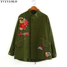 2017 женское пальто армия зеленый цветочный птица carHeavy промышленности патч вышивки бомбардировщик куртка заклепки шипованные свободные повседневные куртки