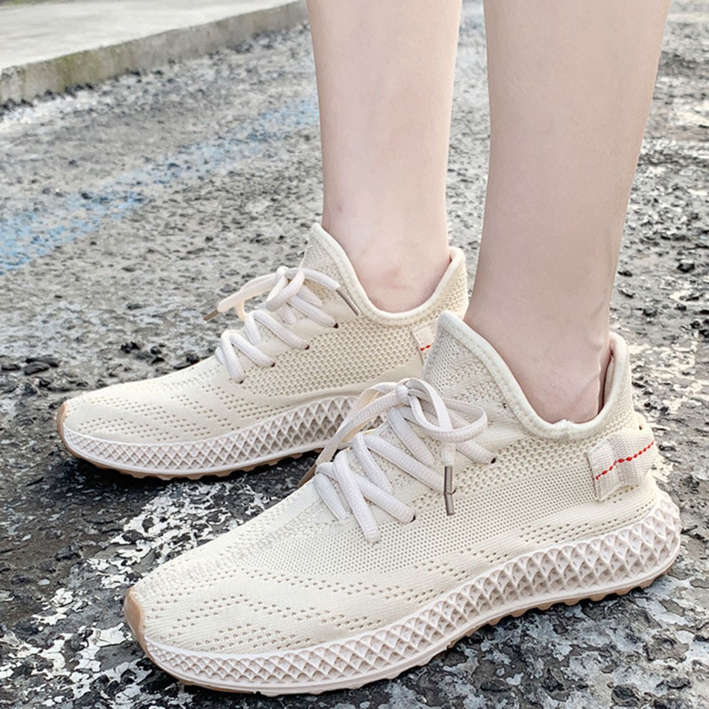 Women Solid Fashion Suede Flying Weave Casual Shoes Soft Cushion Sneakers