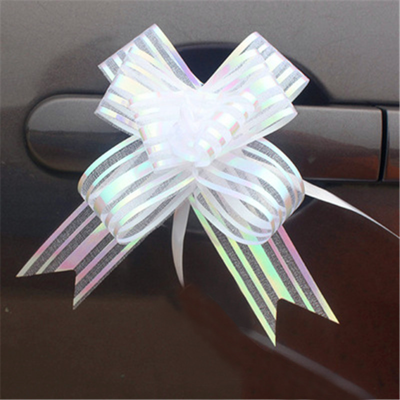 10pcs High Quality Organza Pull Flower Ribbon Bow Gift Wrap Candy Box Accessories DIY Wedding Car Decor Supplies Flower Ribbons