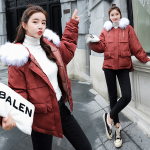 Image 3 - Fitaylor Faux Fur Collar Short Parkas Loose Down Cotton Coats Winter Women Hooded Jackets Pink Black Burgundy Snow Outwear