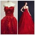 Vestido 3D - аппликация красный вечерние платья линии милая кружева тюль кружева-up вечерние платья халат де вечер