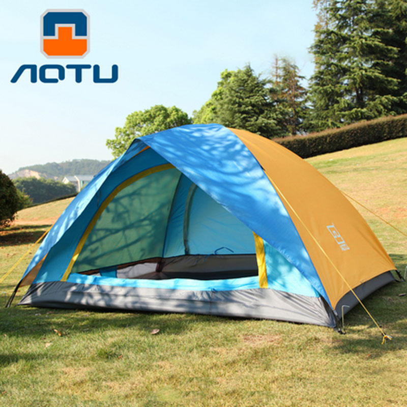 Windproof Waterproof Double Layer 2  person Outdoor Camping Tent Hiking Beach Tent Tourist bedroom travel-in Tents from Sports & Entertainment    1