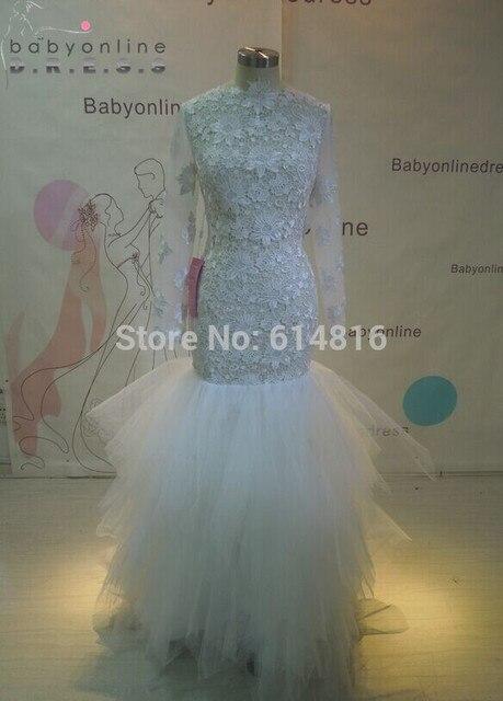 Echt Bild Tüll Meerjungfrau Hochzeitskleider 2017 Langarm Sheer ...