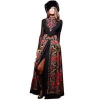 2018 Elegant European Lady Spring Long Sleevace Patchwork Maxi Long Bohemian Dress Women's Russian Runway Dresses Plus Size XXXL