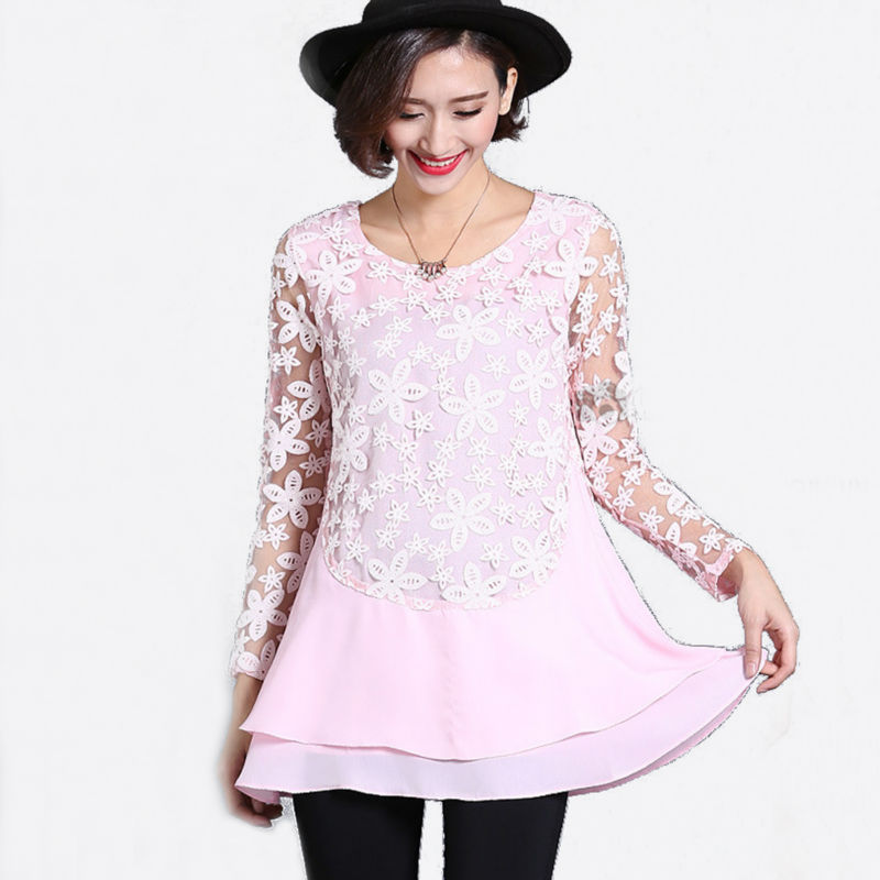 Floral lace blouse outfit pink lace mesh tops uk plus size long sleeve o neck chiffon shirt plus ...