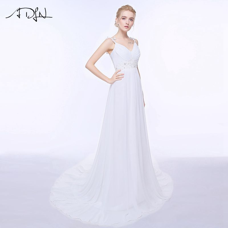 ADLN Real Wedding Dresses In Stock Plus Size Spaghetti Straps Chiffon Bridal Gowns Vestidos De Noiva with Lace Up Back 7