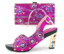 Hot sale Italian matching shoe and bag sets with rhinestones for women,fashion African women shoes and bag set!!OH1-18