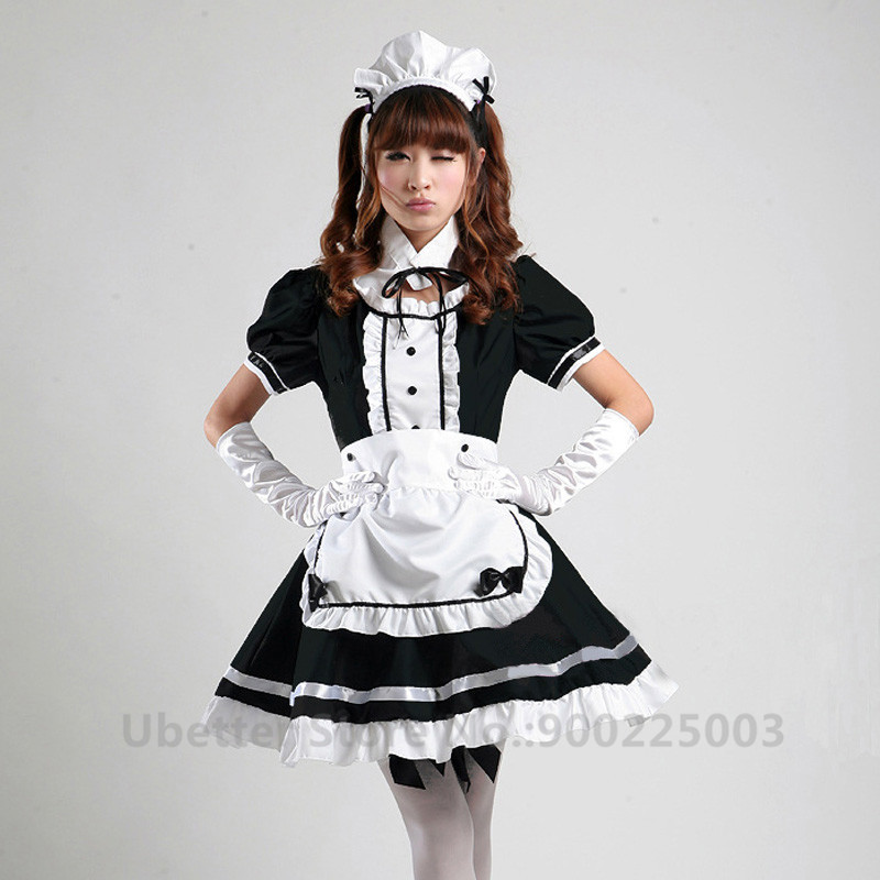 Sexy Sweet Gothic Lolita Dress French Maid Costume Anime Cosplay Sissy Maid Uniform Halloween Costumes For Women C003